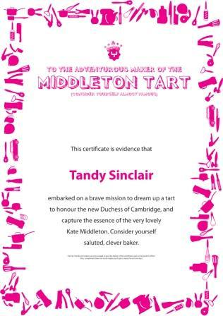 middleton tart certificate Recipe For Pear & Butterscotch Tart