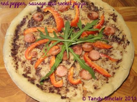Red Pepper Sausage and Rocket Pizza Red Pepper, Sausage and Rocket Pizza Recipe