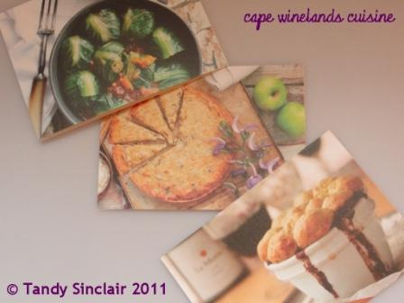 """cape winelands cuisine recipe cards"""
