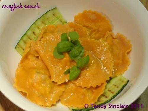 """""""Crayfish Ravioli With A Bisque Sauce"""""""