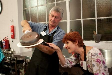 Dave and I turning out the tatin - image courtesy of livewired Canderel Food Bloggers Event