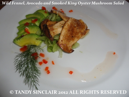© Wild Fennel Avocado and Smoked King Oyster Mushroom Salad Mushroom and Chocolate Soufflé
