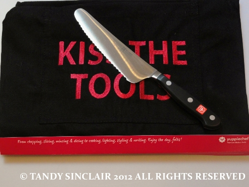© my brand new knife and apron - thank you Yuppiechef