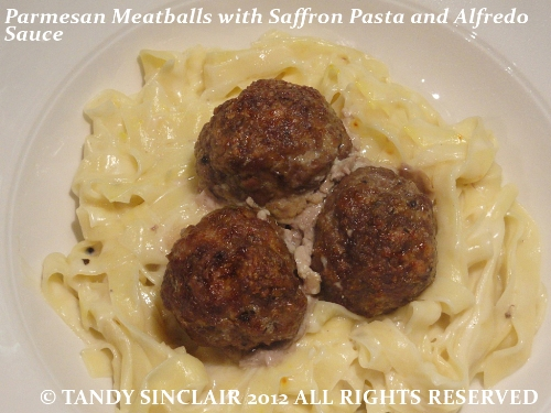 Parmesan Meatballs With Saffron Pasta And Alfredo Sauce Parmesan Meatballs With Saffron Pasta And Alfredo Sauce Recipe