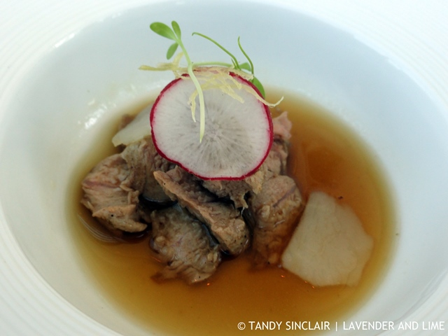 seared duck with an Asian broth and radish Wine Tasting At Waterkloof