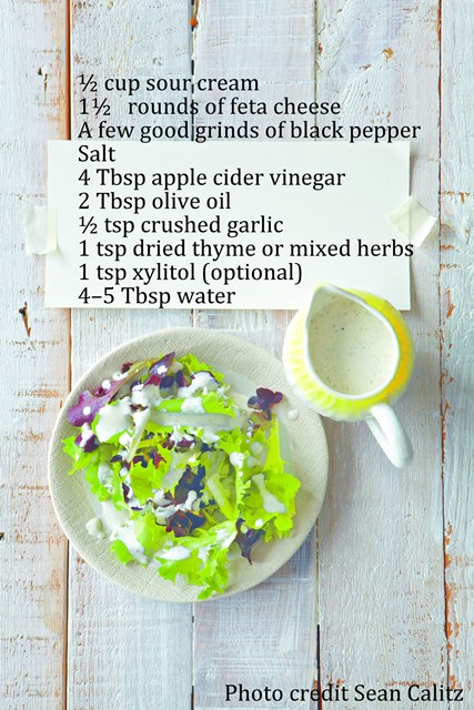 """Creamy black pepper, feta and herb dressing - Extracted from Low Carb is Lekker by Inè Reynierse (Struik Lifestyle)"""