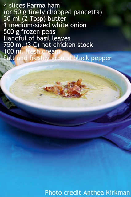"""Perfect pea soup with Parma ham - Extracted from Food For Your Brood by Sam Gates (Struik Lifestyle)"""